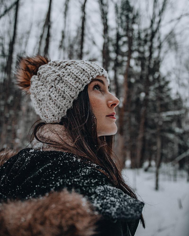 Woman walks through Grey County forest